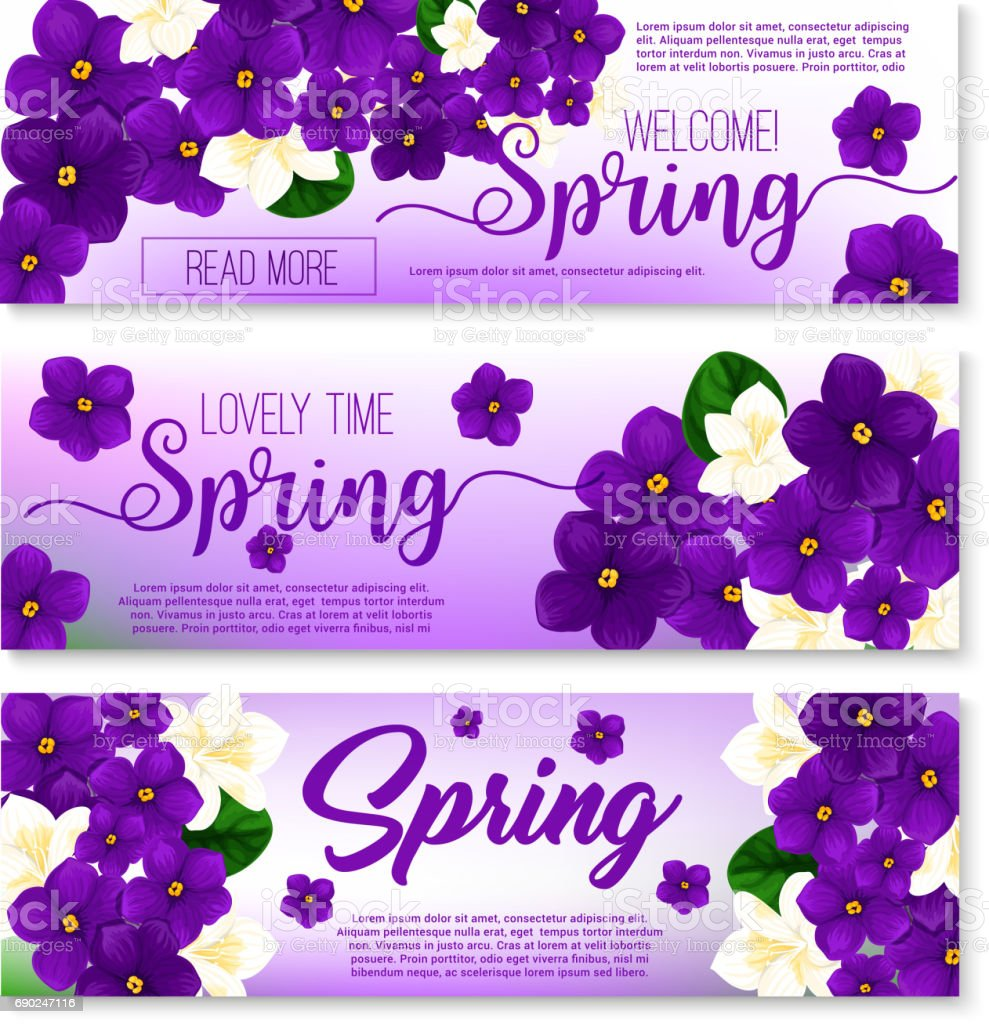 Welcome Spring Floral Banner With Flower Bouquet Stock Vector Art