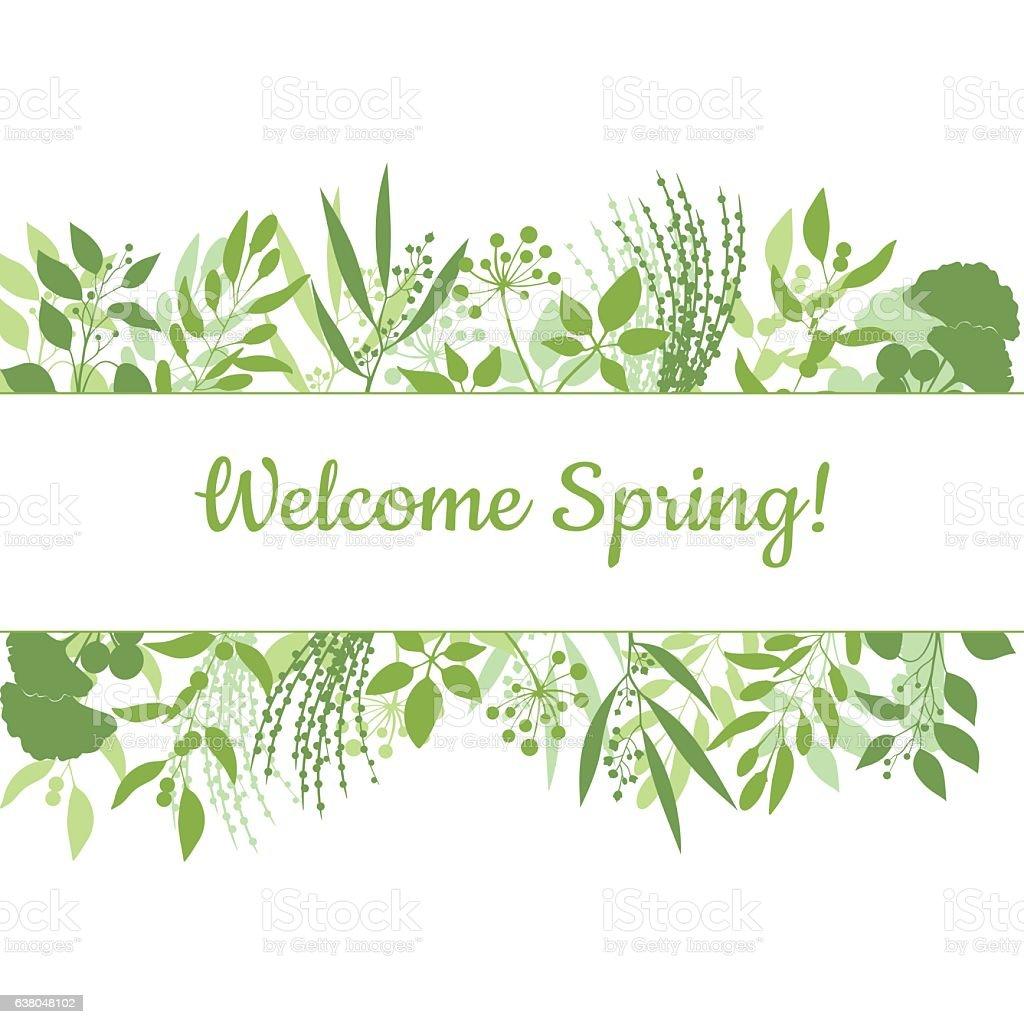 Welcome spring green card design text in floral frame vector art illustration