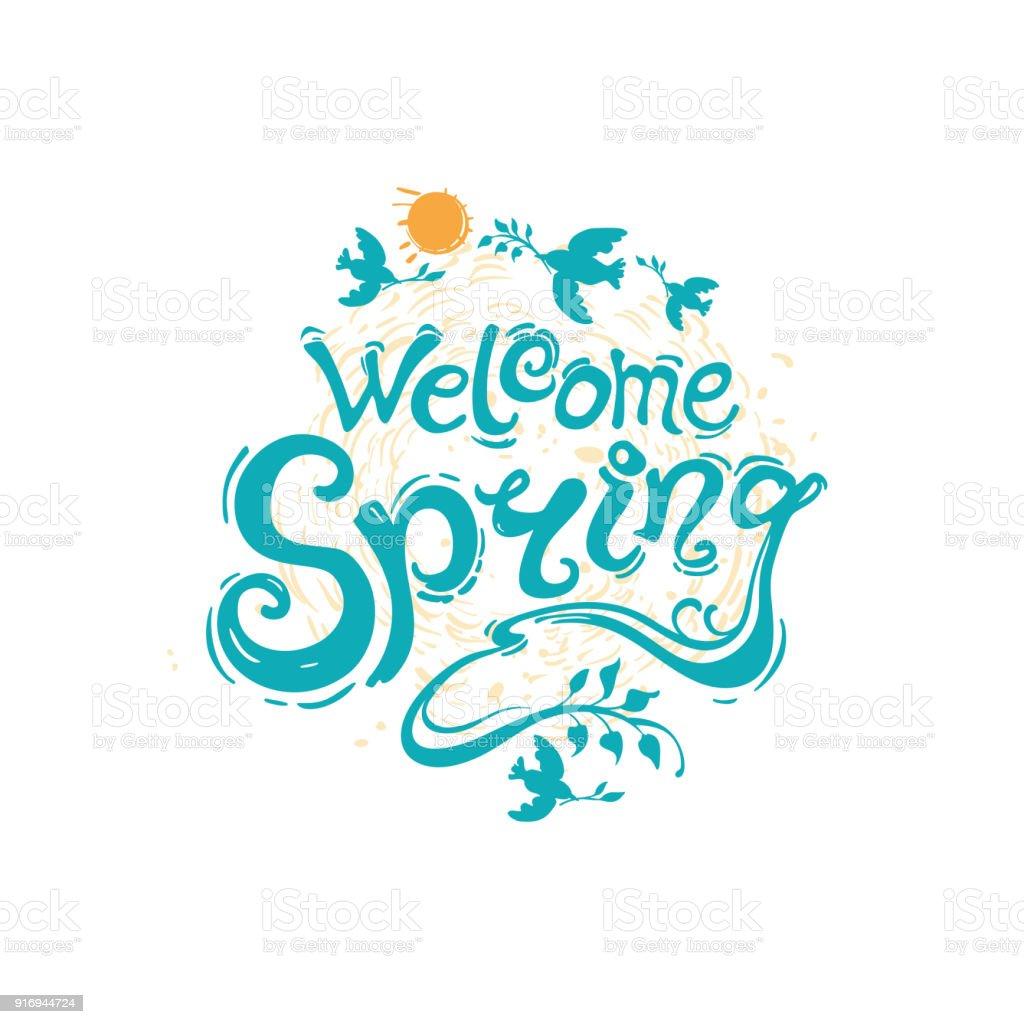 Plantilla De Letras Escritura Bienvenida Primavera - Arte vectorial ...
