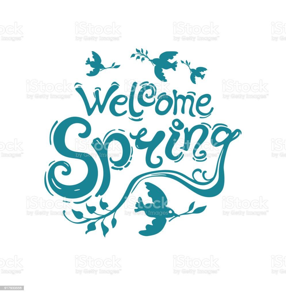 Bienvenida Primavera Plantilla De Escritura A Mano - Arte vectorial ...