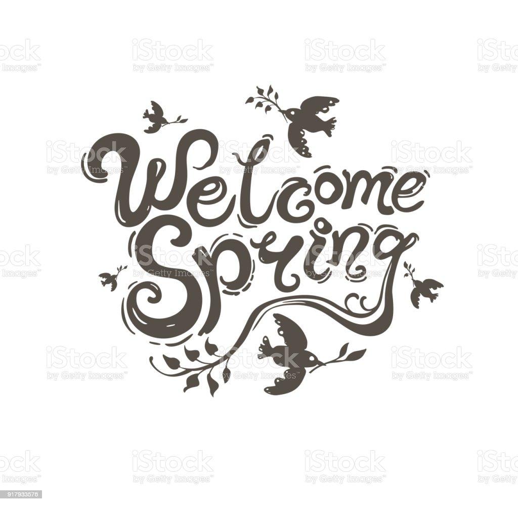 Ilustración de Bienvenida Primavera Plantilla De Escritura A Mano y ...
