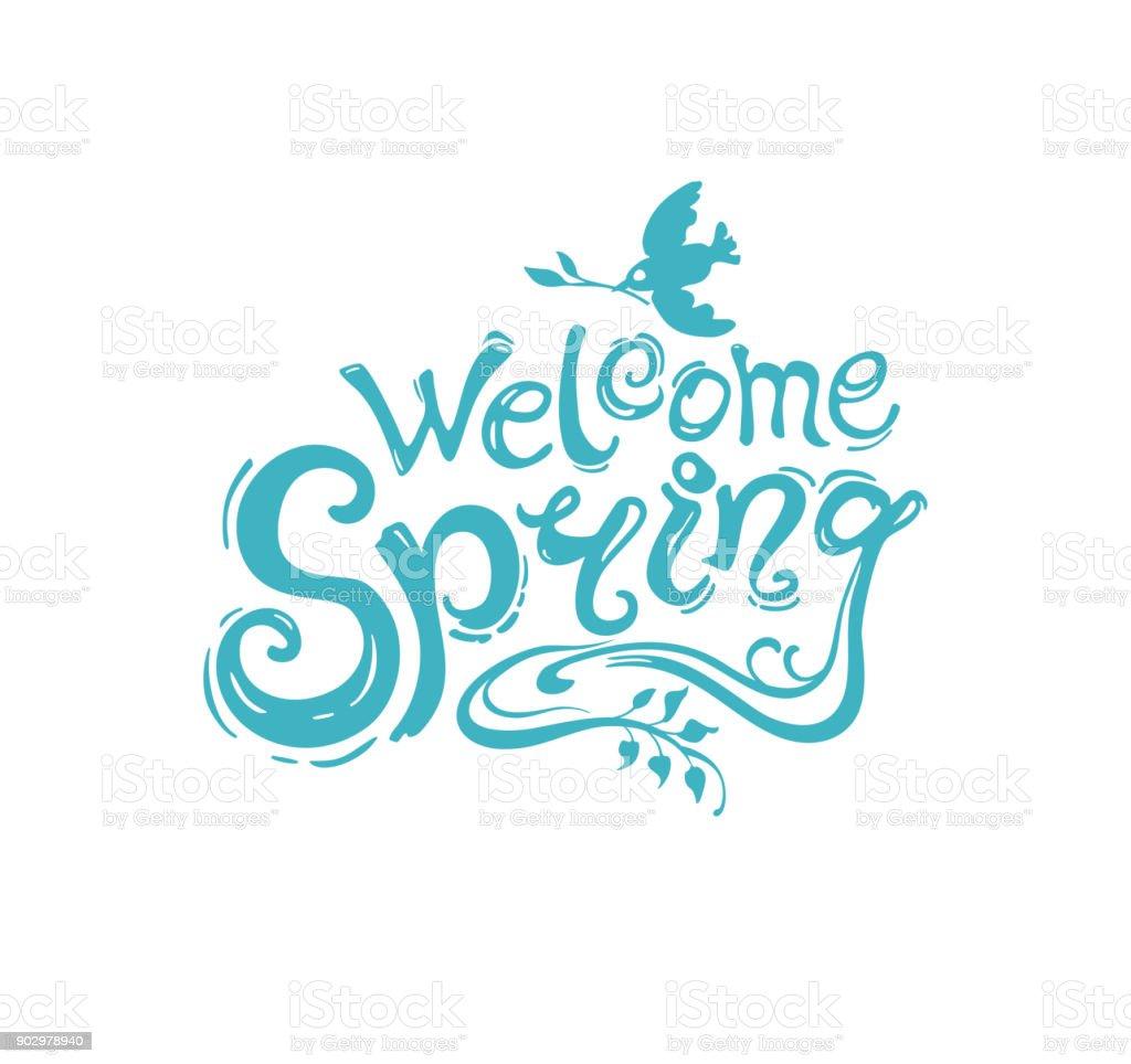 Plantilla De Escritura Turquesa Bienvenida Primavera Con La ...