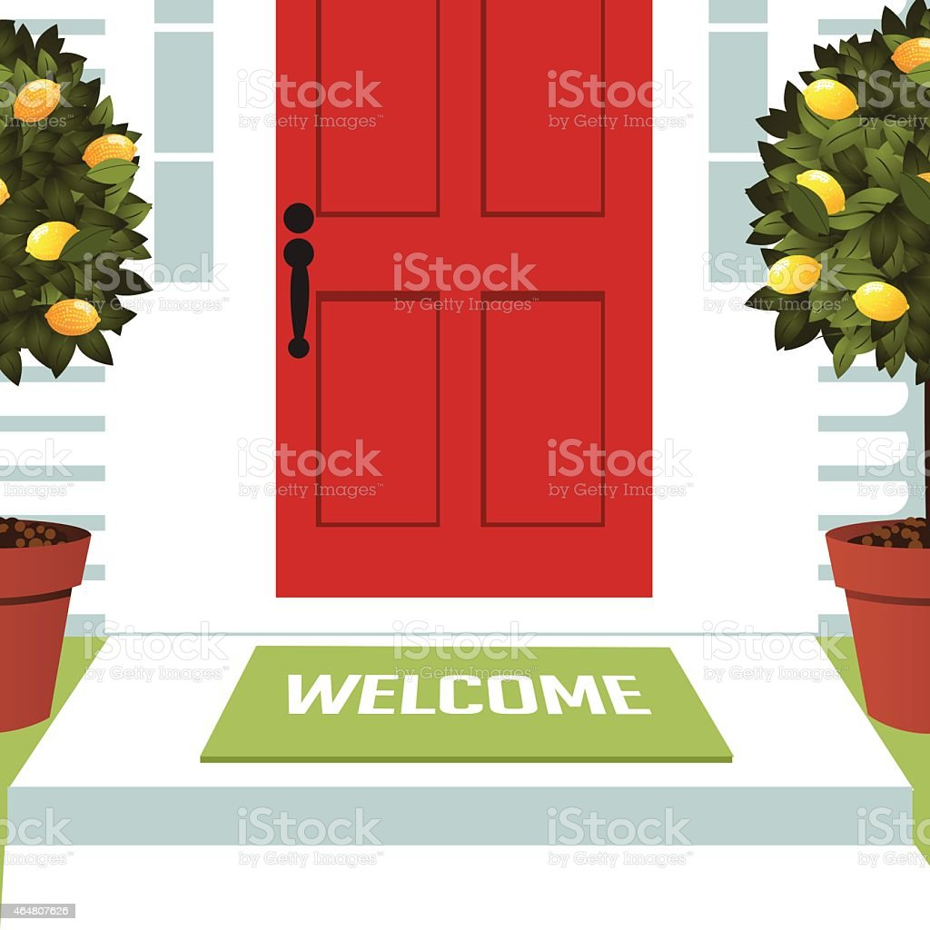 Welcome spring mat at front door with lemon trees vector art illustration