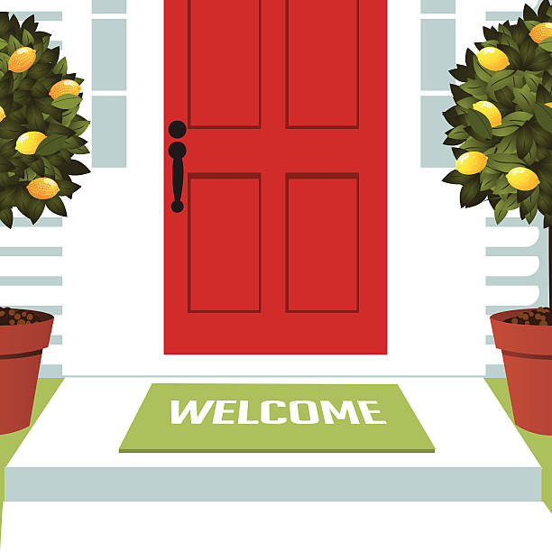 Welcome spring mat at front door with lemon trees Welcome spring mat at front door with lemon trees EPS 10 vector royalty free stock illustration for greeting card, ad, promotion, poster, flier, blog, article, open house, party, new neighbors porch stock illustrations