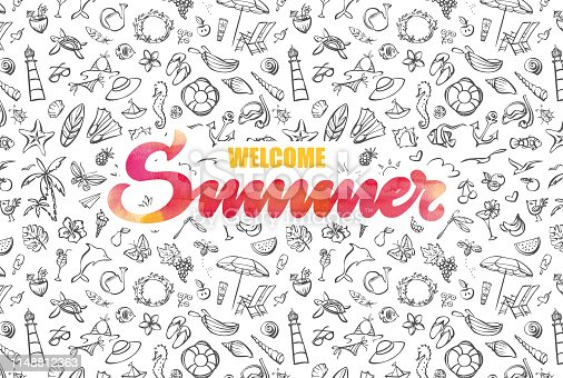 istock Welcome summer card with watercolor typography 1148812363