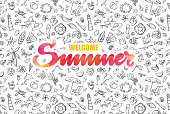 Vectorized hand drawn watercolor Summer inscription on summer icons background