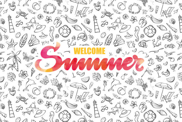 Welcome summer card with watercolor typography vector art illustration