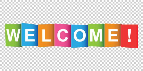 welcome tag. market message. flat vector illustration on white background - tablica powitalna stock illustrations