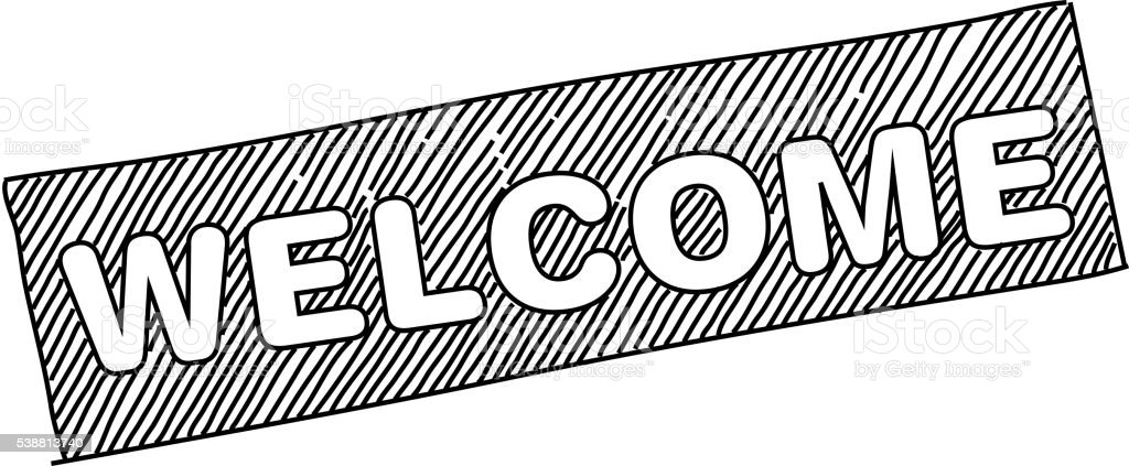 Welcome Text Drawing Stock Vector Art More Images Of Black And