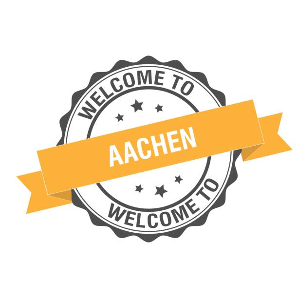 Welcome to Aachen stamp illustration Welcome to Aachen stamp illustration design lachen stock illustrations