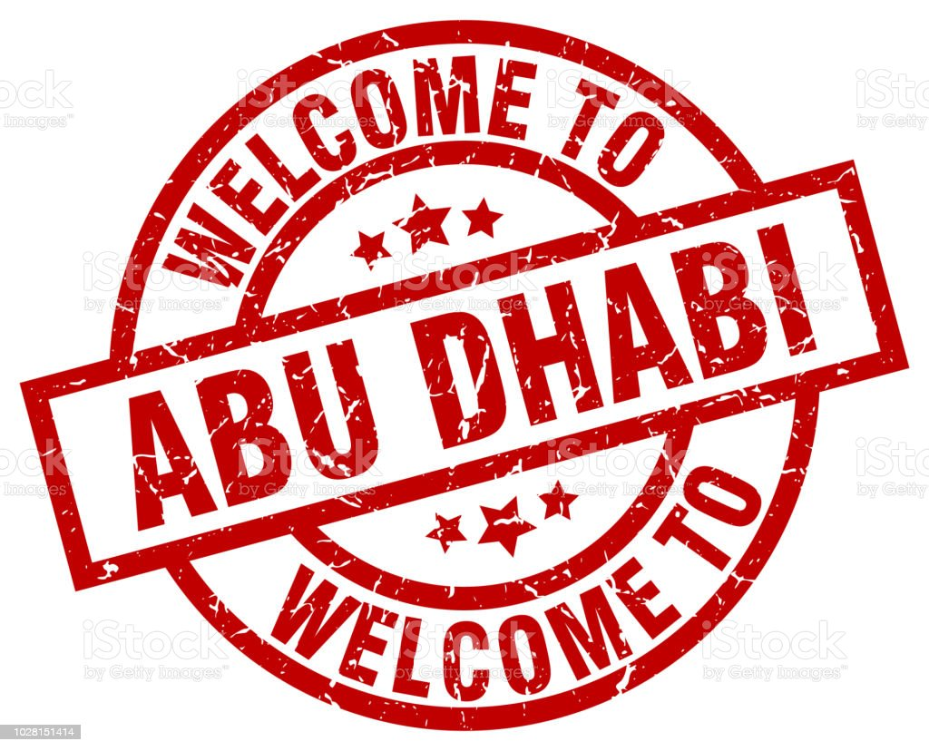 welcome to Abu Dhabi red stamp vector art illustration