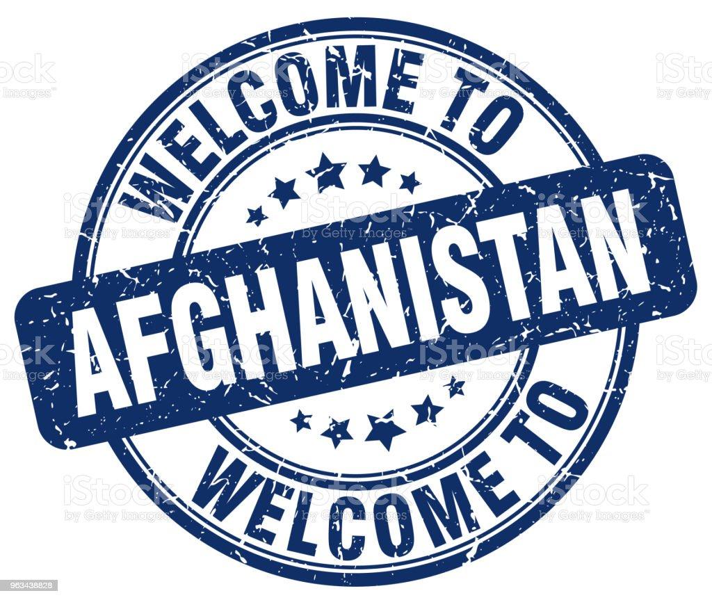 witamy w Afganistanie niebieski okrągły znaczek vintage - Grafika wektorowa royalty-free (Afganistan)