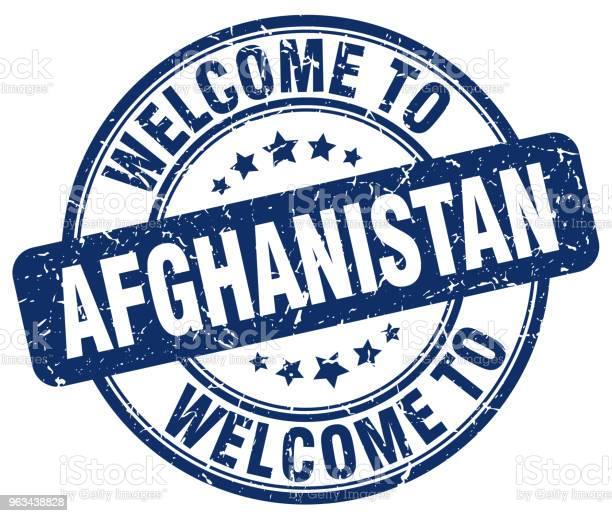 Witamy W Afganistanie Niebieski Okrągły Znaczek Vintage - Stockowe grafiki wektorowe i więcej obrazów Afganistan