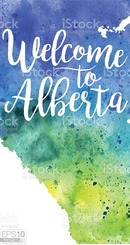Welcome to Alberta Vector Watercolor Map vector art illustration