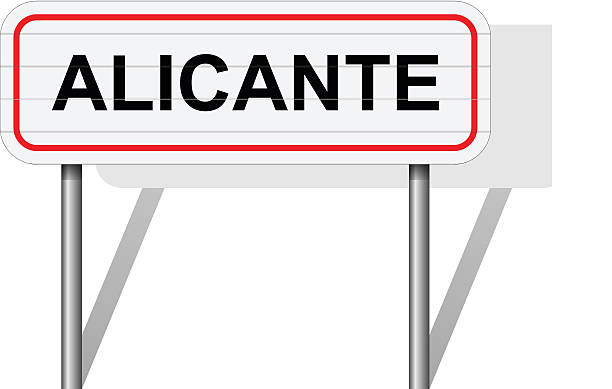 willkommen in alicante, spanien schild vektor - alicante stock-grafiken, -clipart, -cartoons und -symbole