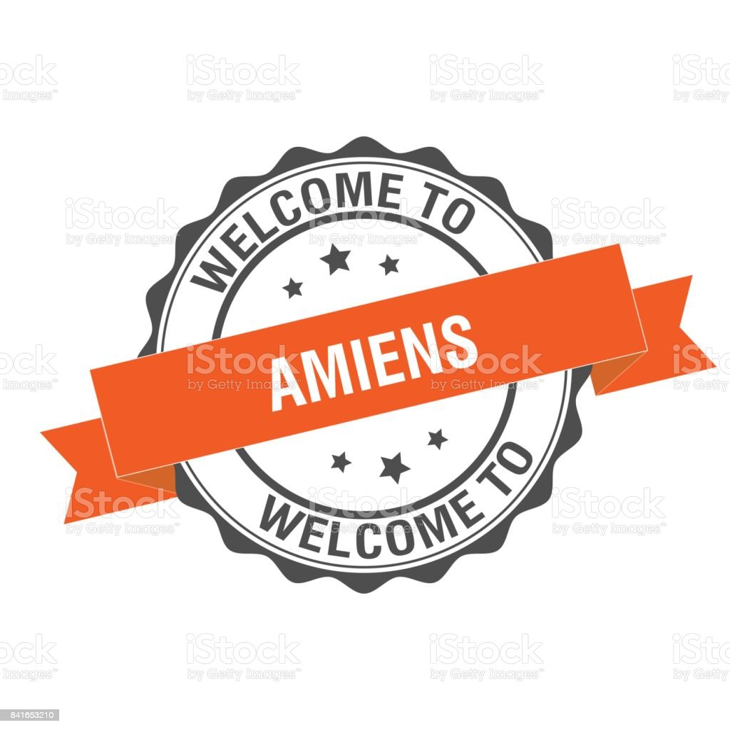 Welcome to Amiens stamp illustration vector art illustration