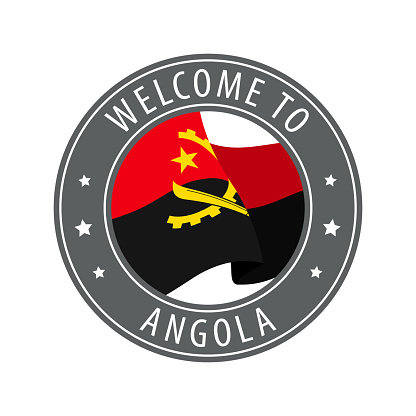 Welcome to Angola. Gray stamp with a waving country flag.