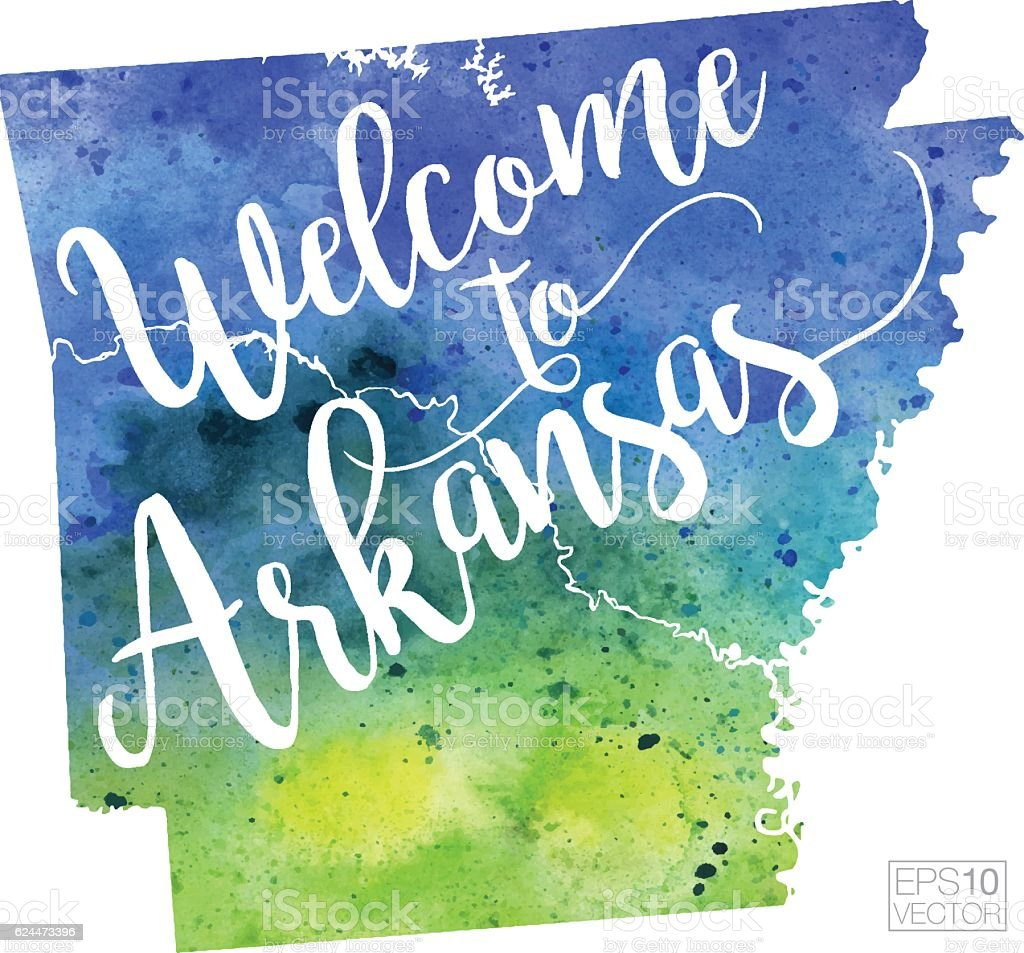 Welcome to Arkansas Vector Watercolor Map vector art illustration