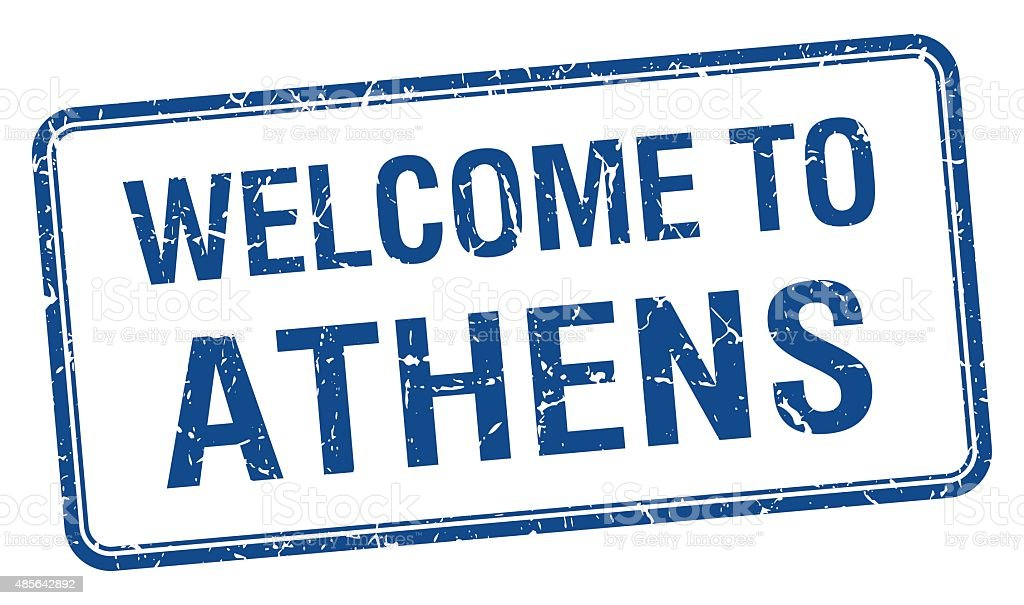 welcome to Athens blue grunge square stamp vector art illustration