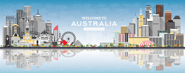 bildbanksillustrationer, clip art samt tecknat material och ikoner med välkommen till australiens skyline med grå byggnader, blå himmel och reflektioner. - canberra skyline