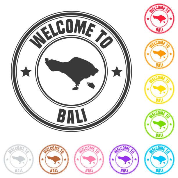 willkommen auf bali-stempel-bunte abzeichen auf weißem hintergrund - denpasar stock-grafiken, -clipart, -cartoons und -symbole