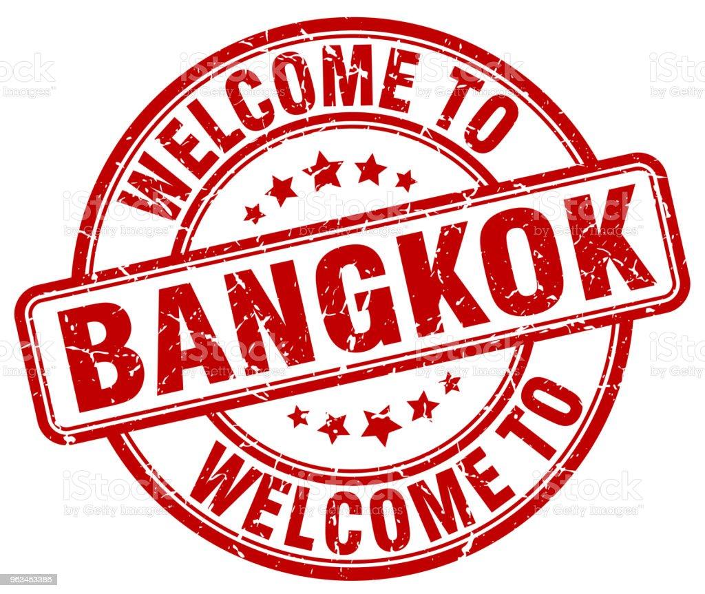 Bangkok kırmızı vintage damga yuvarlak hoş geldiniz - Royalty-free Amblem Vector Art