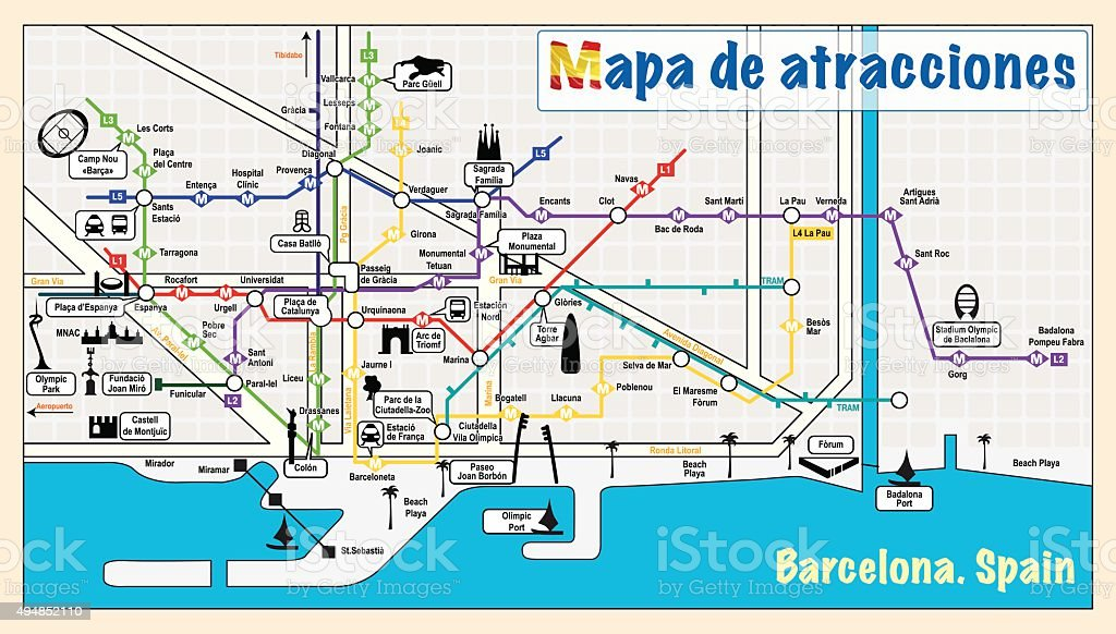 Welcome To Barcelona Attractions On Map Stock Vector Art & More ...