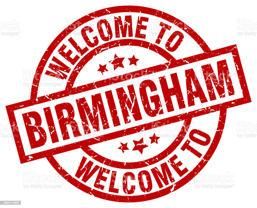 welcome to Birmingham red stamp vector art illustration