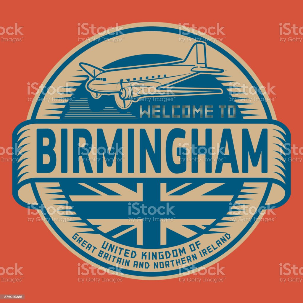 Welcome to Birmingham, United Kingdom vector art illustration