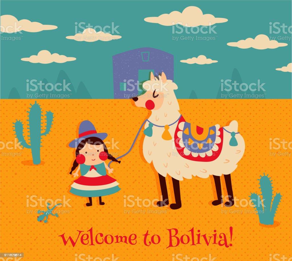 Bienvenido a bolivia - ilustración de arte vectorial