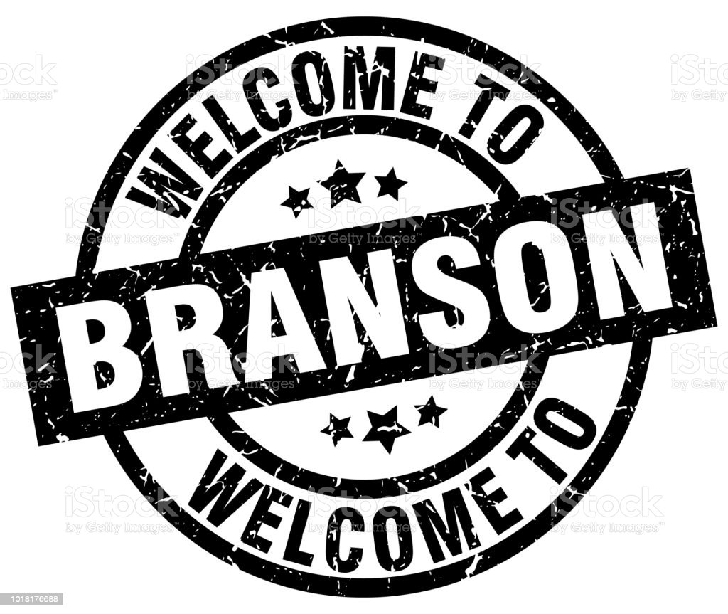 welcome to Branson black stamp vector art illustration