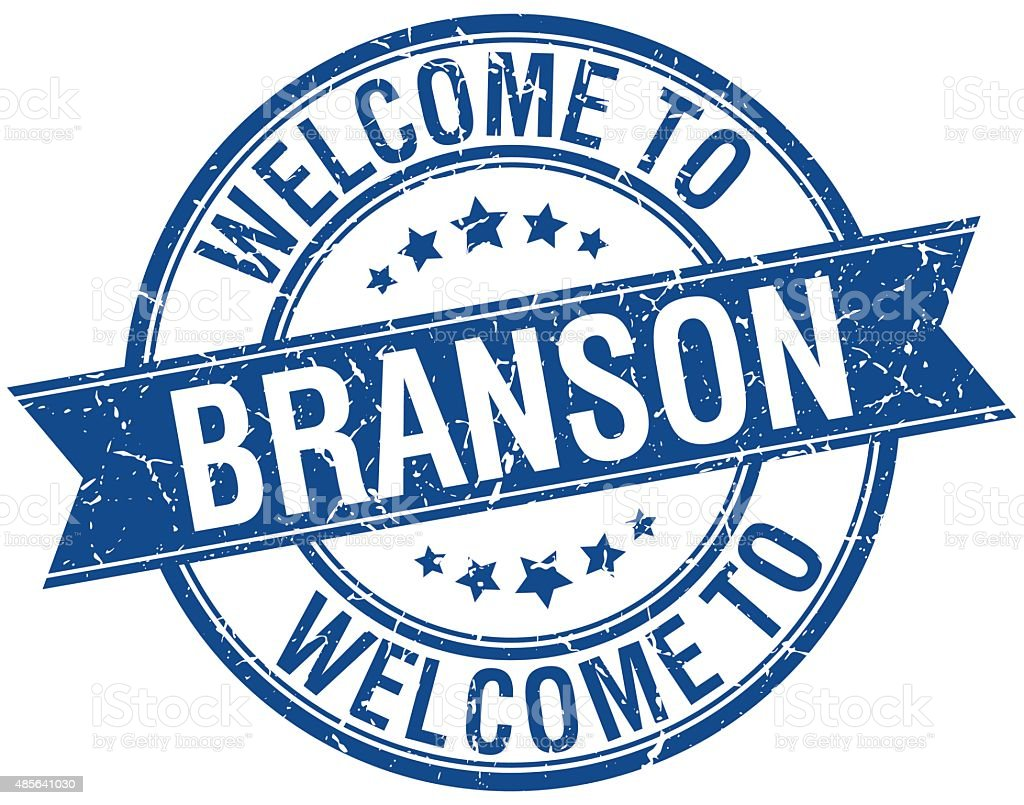 welcome to Branson blue round ribbon stamp vector art illustration