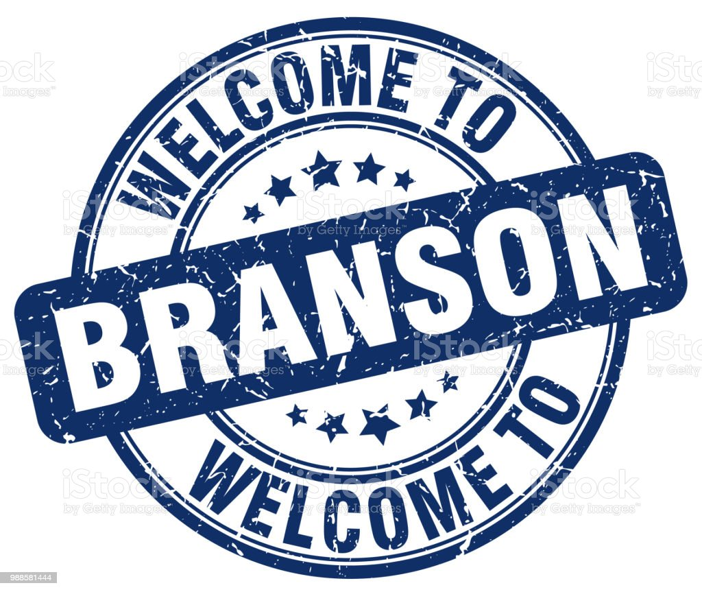 welcome to Branson blue round vintage stamp vector art illustration