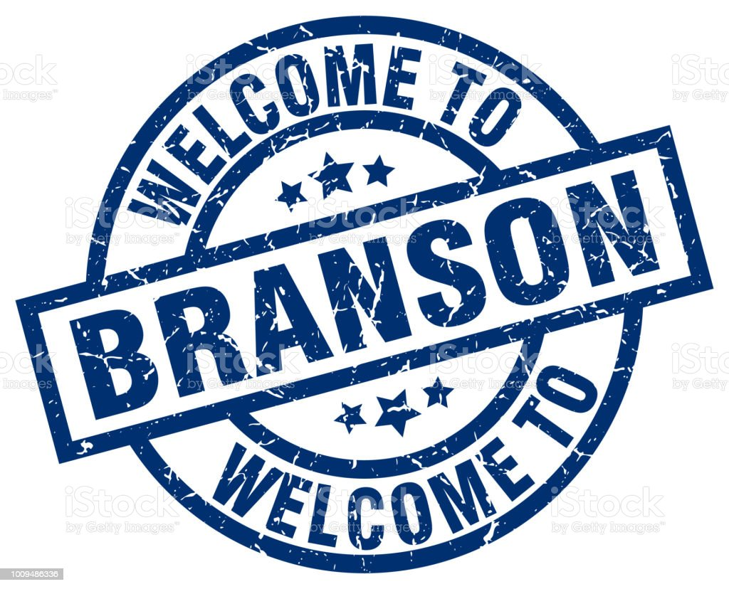 welcome to Branson blue stamp vector art illustration