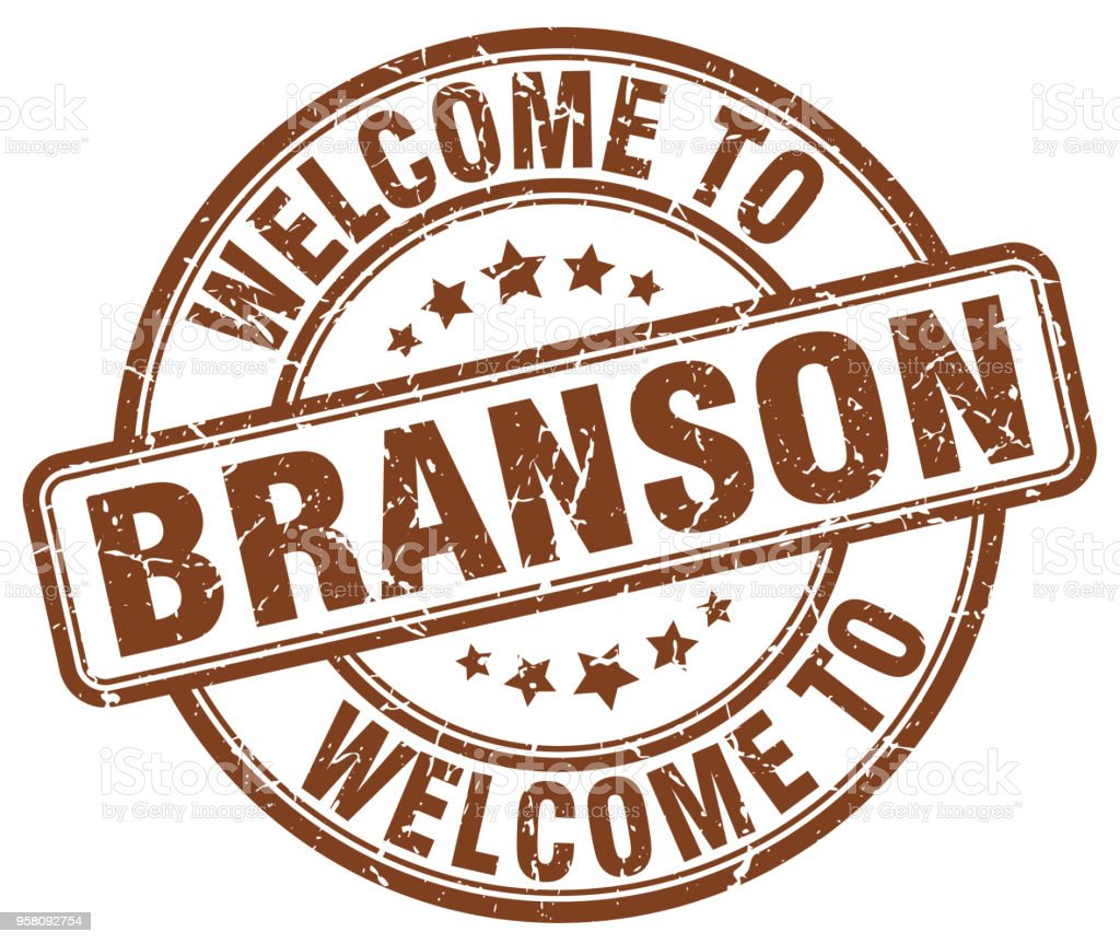 welcome to Branson brown round vintage stamp vector art illustration