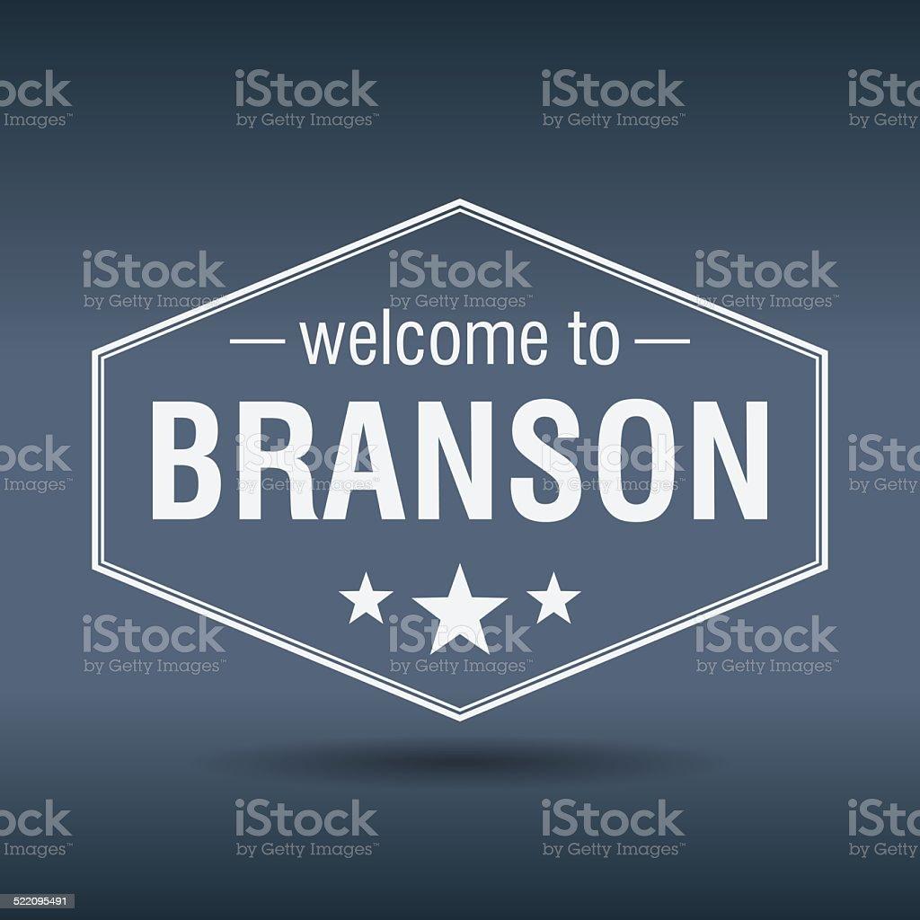 welcome to Branson hexagonal white vintage label vector art illustration