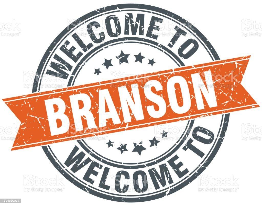 welcome to Branson orange round ribbon stamp vector art illustration