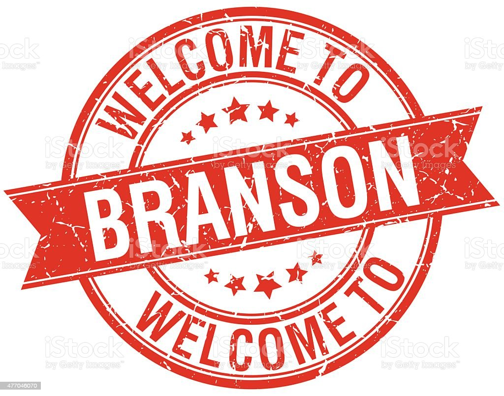 welcome to Branson red round ribbon stamp vector art illustration