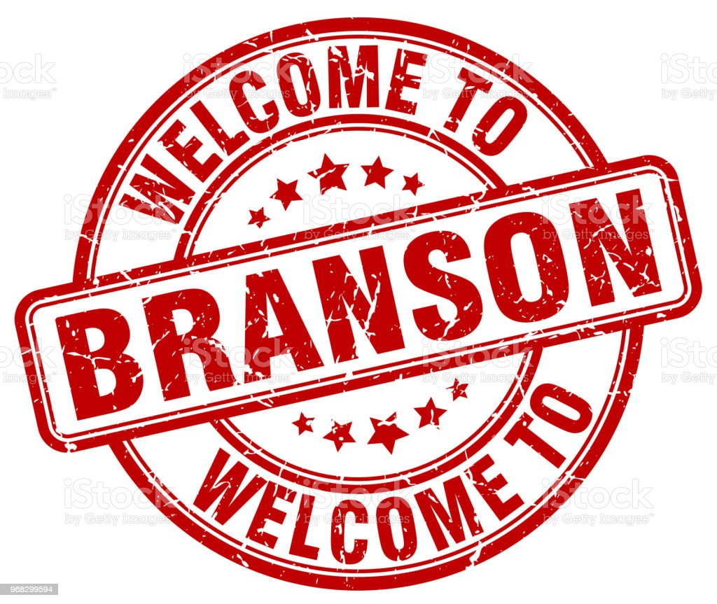 welcome to Branson red round vintage stamp vector art illustration