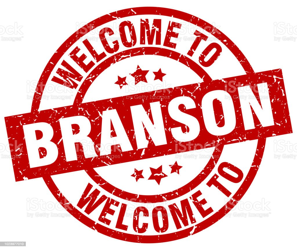 welcome to Branson red stamp vector art illustration