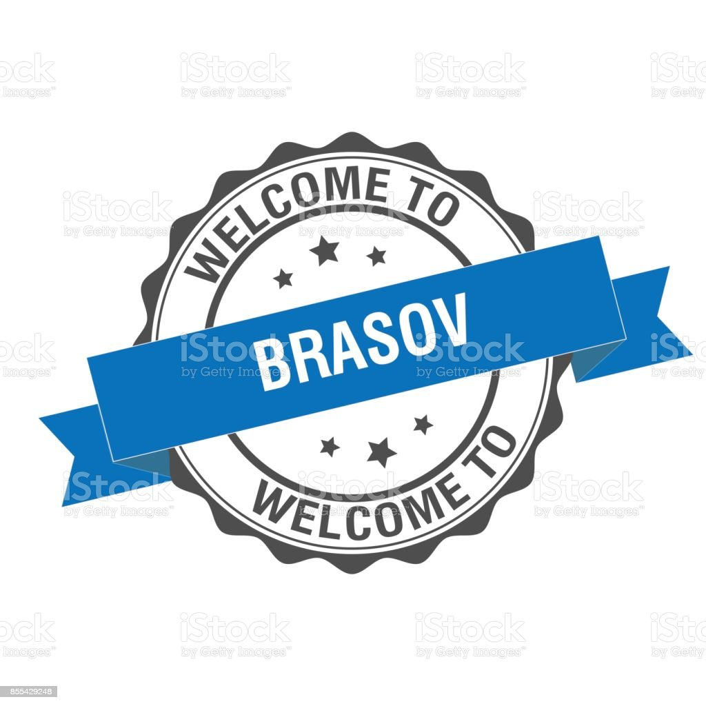 Welcome to Brasov stamp illustration vector art illustration