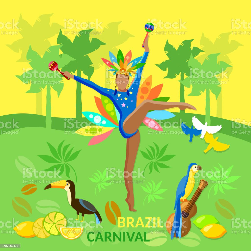 Welcome to Brazil brazilian carnival jungle vector art illustration