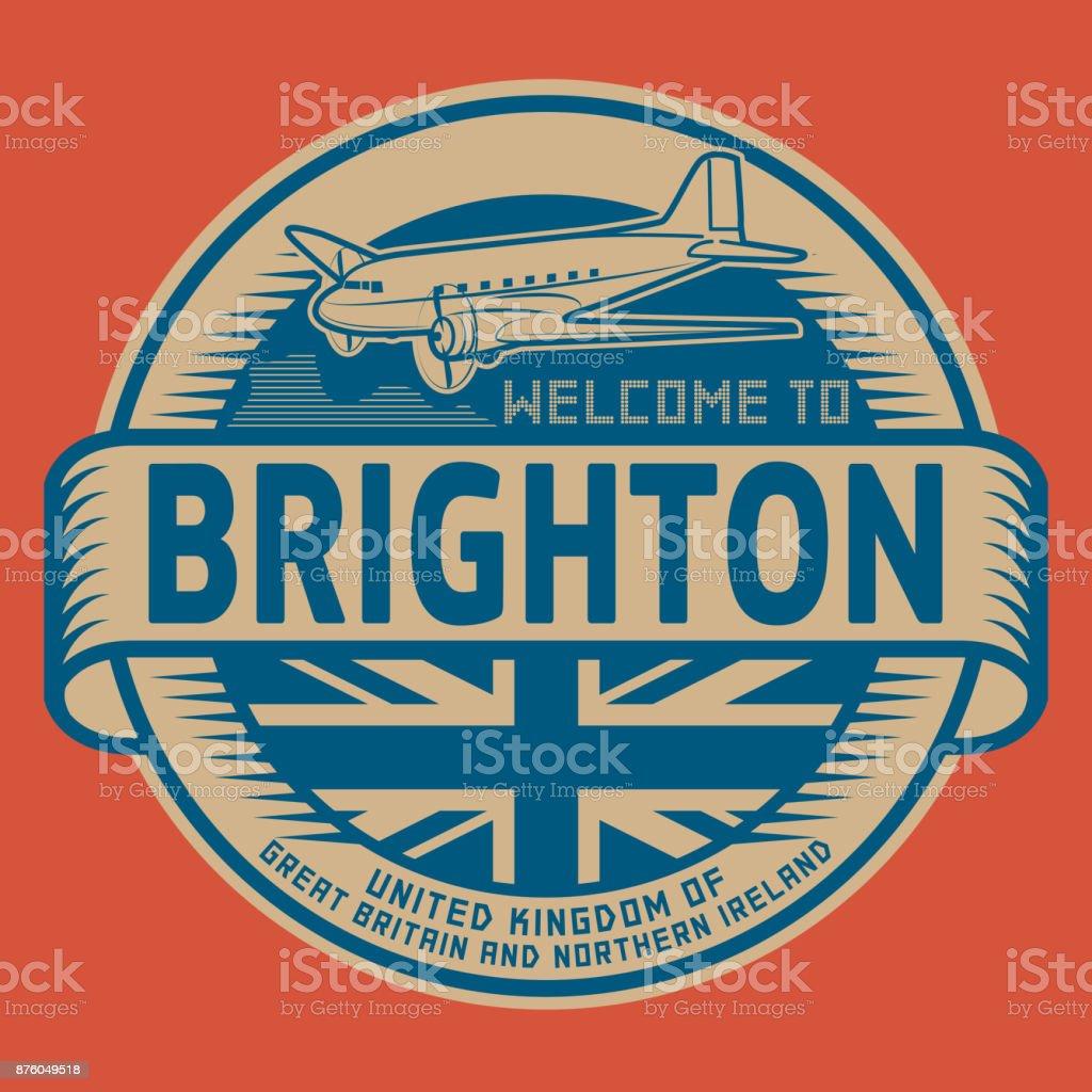 Welcome to Brighton, United Kingdom vector art illustration