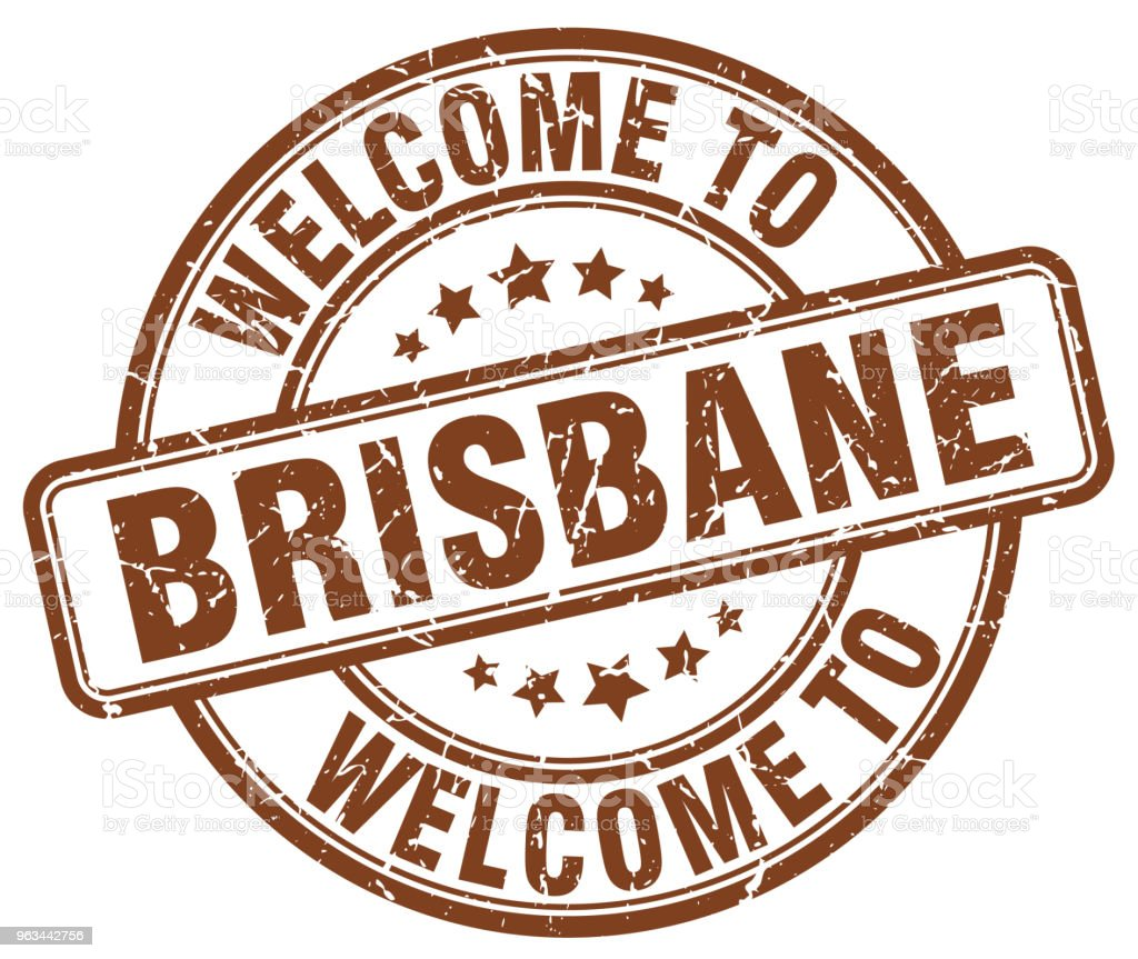 Brisbane vintage damga kahverengi hoş geldiniz - Royalty-free Amblem Vector Art
