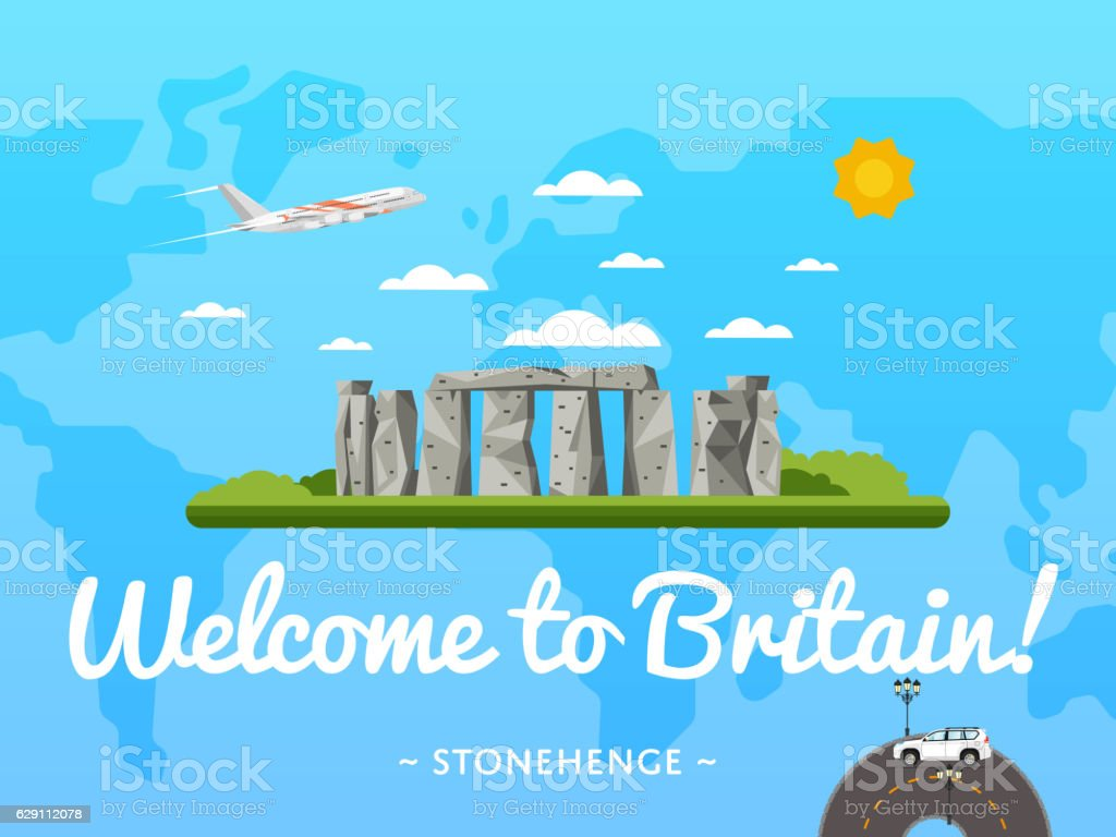 Welcome to Britain poster with famous attraction vector art illustration