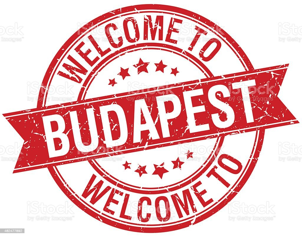 Willkommen in Budapest Rot Runde Band-Briefmarke – Vektorgrafik