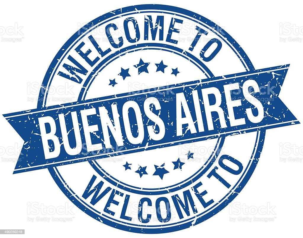 welcome to Buenos Aires blue round ribbon stamp vector art illustration