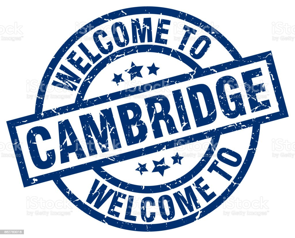 welcome to Cambridge blue stamp vector art illustration