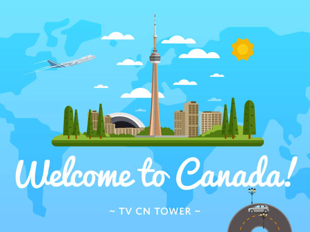 Welcome to Canada poster with famous attraction - Illustration vectorielle