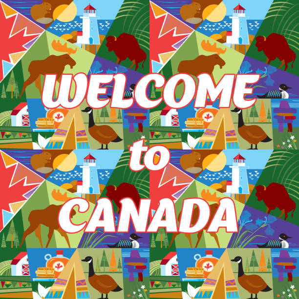 Welcome to Canada Welcome to Canada. Vector illustration. peggy's cove stock illustrations